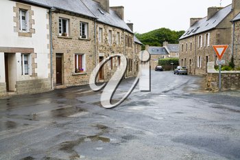 street in Brittany town Treguier, France in rainy day