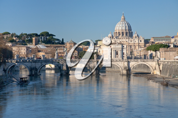view on Tiber and St Peter Basilica in Rome