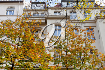 facade of urban mansion of the 19th century on Fasanenstrasse in Berlin in autumn