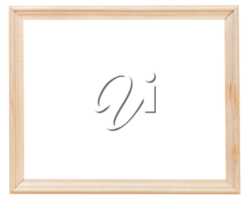 light wooden simple picture frame with cutout canvas isolated on white background