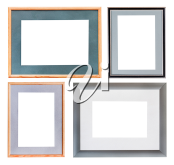 set of picture frame with mat with cutout canvas isolated on white background