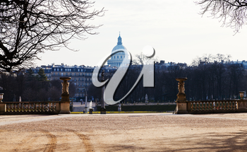 view of Pantheon from luxembourg gardens in Paris