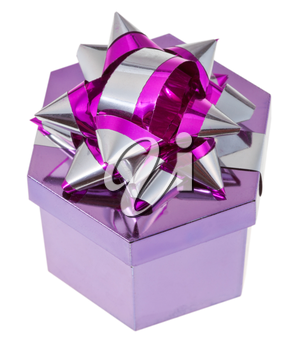 shining purple gift box with tinsel knot isolated on white background