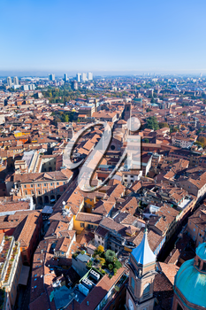 aerial bird eye view from Asinelli Tower of via San Vitale in Bologna, Italy