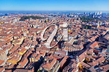 aerial bird eye view panorama from Asinelli Tower on Bologna city, Italy