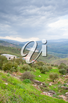 panorama of mountain valley and river in Jordan