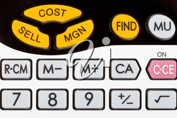 cost, sell, margin keys of financial calculator close up