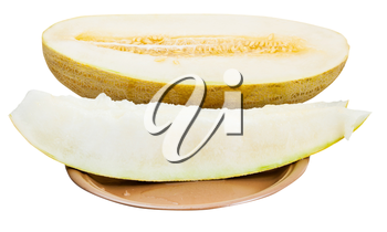 two slices and half of Uzbek-Russian Melon (mirzachul melon, gulabi melon, torpedo melon) on plate isolated on white background
