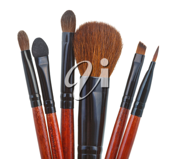 set of makeup brushes isolated on white background