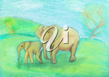 children drawing - Elephant with baby elephant in the savannah by dry pastel on green paper