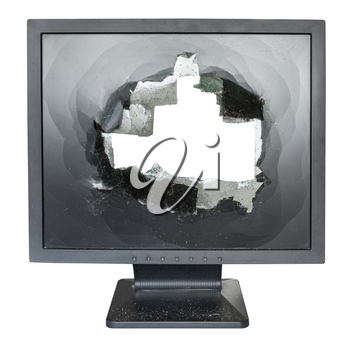 direct view of broken monitor with cut out damaged screen isolated on white background