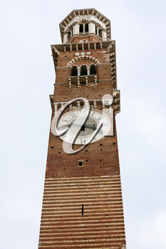 travel to Italy - Torre dei Lamberti is high tower on Piazza delle Erbe (Market's square) in Verona city