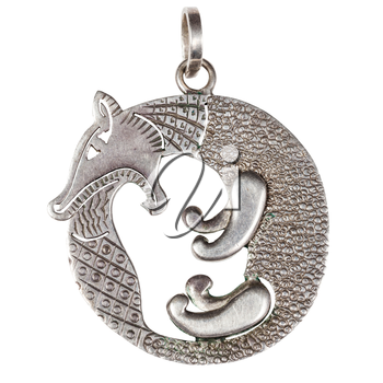 hand made stylized silver jewelry pendant - fox biting its tail Scythian style isolated on white background