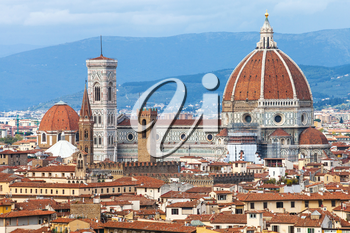 travel to Italy - view of Duomo in Florence city from Piazzale Michelangelo