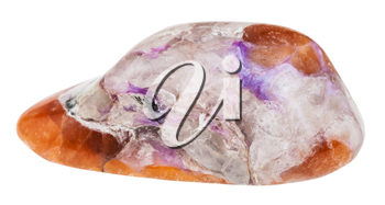 macro shooting of geological collection mineral - tumbled violet Charoite on brown Tinaksite stone isolated on white background