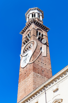 travel to Italy - view of tall tower Torre dei Lamberti in Verona city in spring