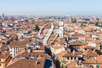 travel to Italy - above view of Verona city with Scaliger castle from tower Torre dei Lamberti in spring