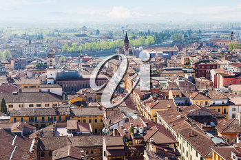 travel to Italy - above view of Verona city with Adige River from tower Torre dei Lamberti in spring
