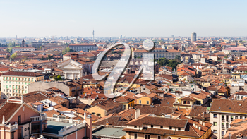 travel to Italy - above view of Verona city with Arena di Verona from tower Torre dei Lamberti in spring