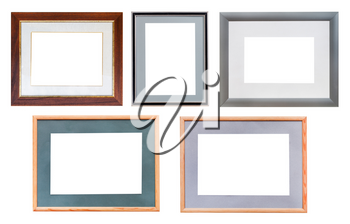 set of picture frames with passepartout with cut out canvas isolated on white background