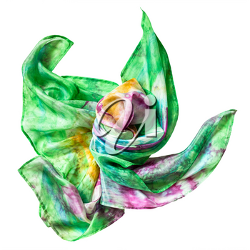 wrapped multicolor batik silk scarf isolated on white background