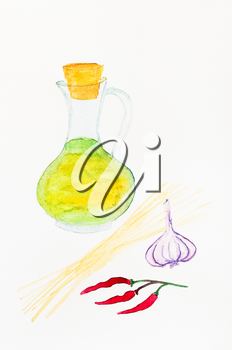 still life with ingredients for italian Spaghetti aglio olio e peperoncino (Spaghetti with garlic, oil and chilli pepper) hand-drawn by watercolors on white paper