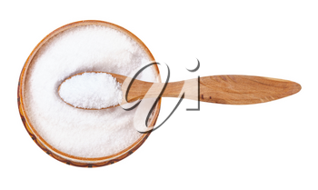 top view of wooden salt cellar with spoon with fine ground Sea Salt isolated on white background