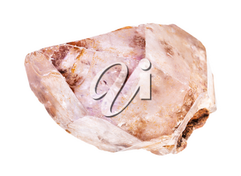 closeup of sample of natural mineral from geological collection - raw Amethyst crystal rock isolated on white background