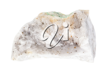closeup of sample of natural mineral from geological collection - piece of raw Baryte ore isolated on white background