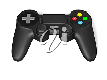 Gamepad joypad for video game console isolated on white background with reflection