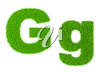 Grass letter G - ecology eco friendly concept character type