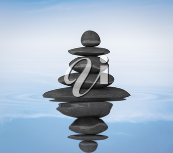 Zen stones in water with reflection balance concept