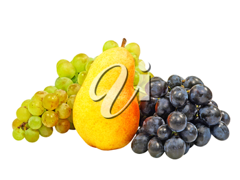 Yellow Pear And Grape Isolated On A White Background.