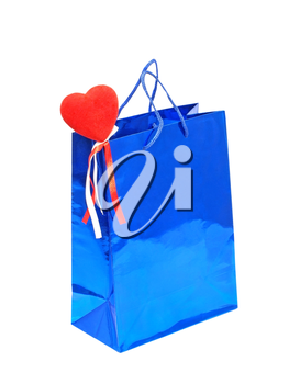 A Valentines Day holiday gift bag with red heart isolated on a white background.