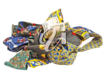 Set of multicolored neckties and fifty dollars bill heaped on a white background.
