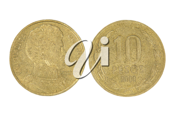 Ten pesos of Chile Republic isolated on white background.