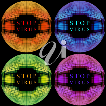 Set of multicolored icon Stop virus concept.Digitally generated image.