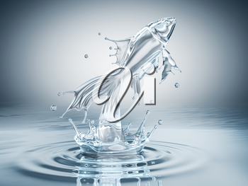 Water splash in form of jumping fish
