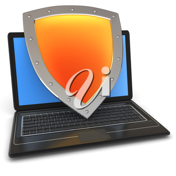Information security. Shield covers laptop