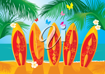 Summer Holiday Postcard - surf boards with hand drawn text Aloha