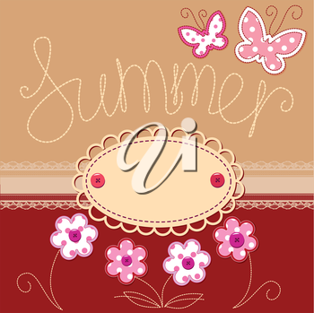 Romantic summer card with laces, butterflies and flowers