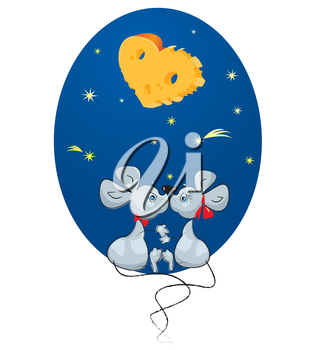 Valentine`s Day concept: cartoon of a Male Mouse and a Female Mouse on sky background with stars and moon-heart - shaped Cheese