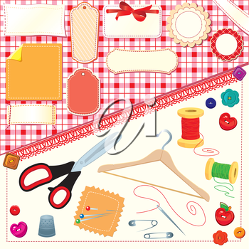 Collection of labels, sewing and knitting tools.