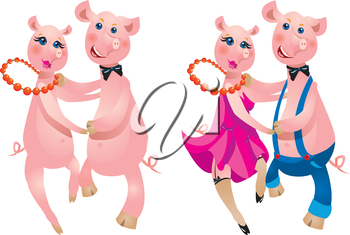 A happy cartoon couple of pigs dancing.