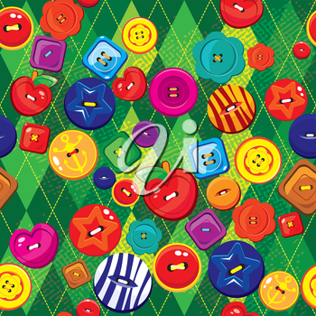 Seamless background with colorful  sewing buttons