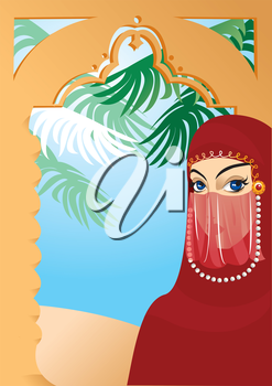 Portrait border with beautiful arabian woman wearing yashmak
