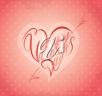 Vintage holiday card with calligraphic text Happy  Valentine's Day in heart shape