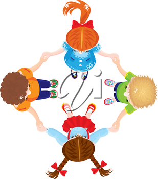 Four Kids Joining Hands to Form a Circle, isolated on white background