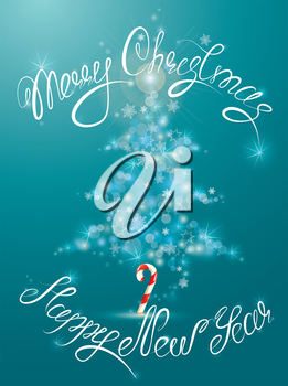 Shining abstract  xmas fir tree is made of sparkles and lights on blue background. Handwritten calligraphic text Merry Christmas and Happy New Year.