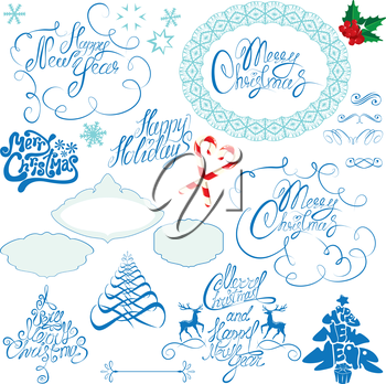 Collection of Christmas and New Year calligraphy handwritten texts and frames